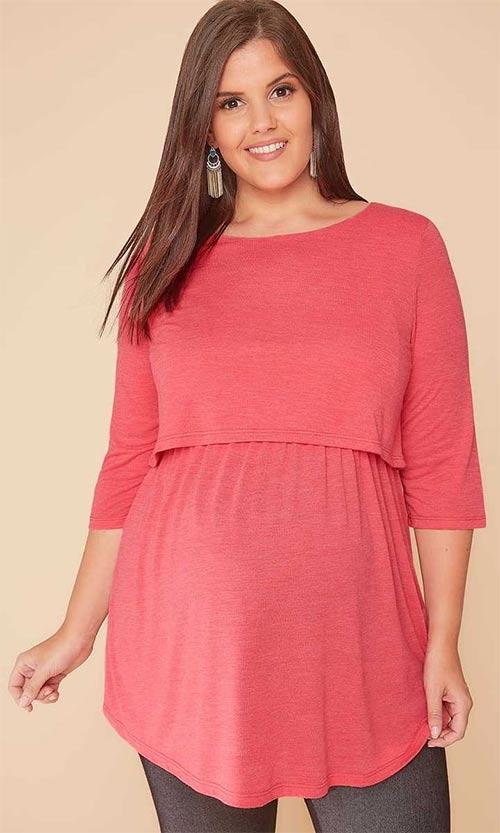 Ružová tunika pre tehotné a dojčiace