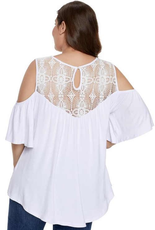 Biela blúzka s čipkovaným chrbtom
