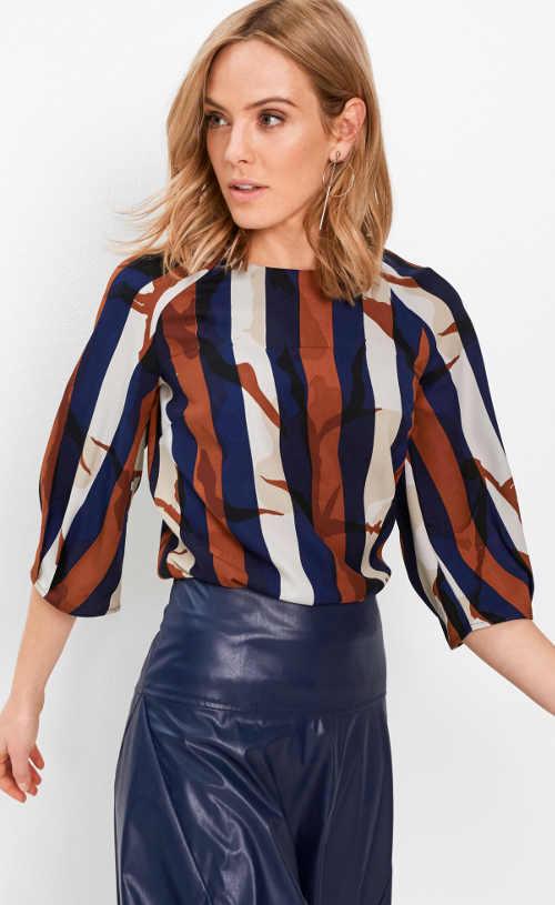 Farebná pruhovaná tunika s raglánovými rukávmi