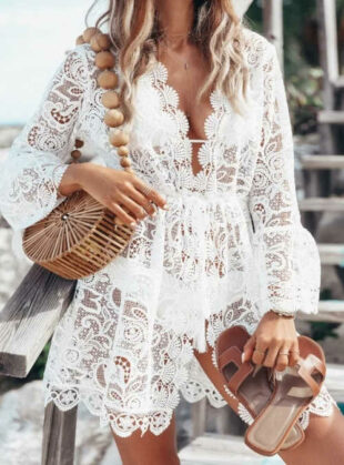 Háčkované biele plážové šaty z priesvitnej čipky