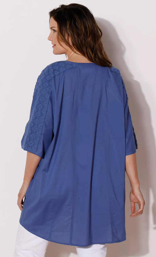 Voľná modrá predĺžená dámska tunika s trojštvrťovými rukávmi