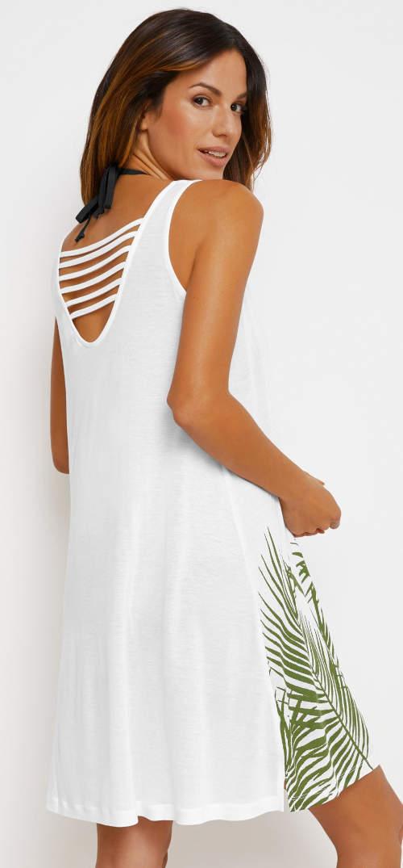 Biele letné šaty cez plavky