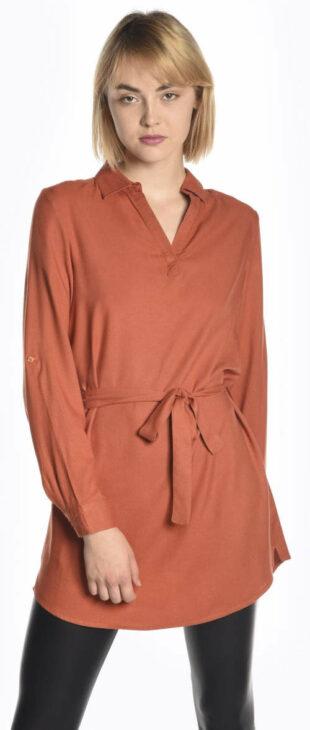 Jednofarebná oranžová predĺžená tunika s opaskom