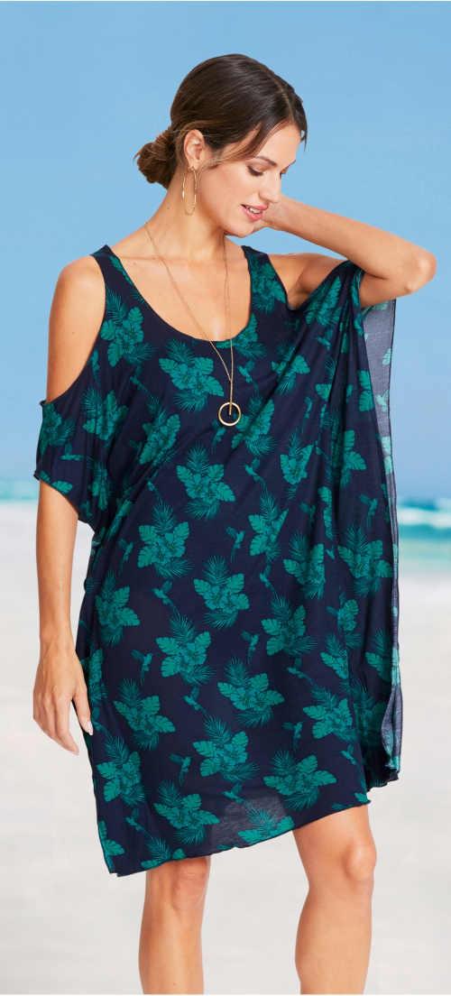 Ľahké plážové šaty voľného pareo strihu