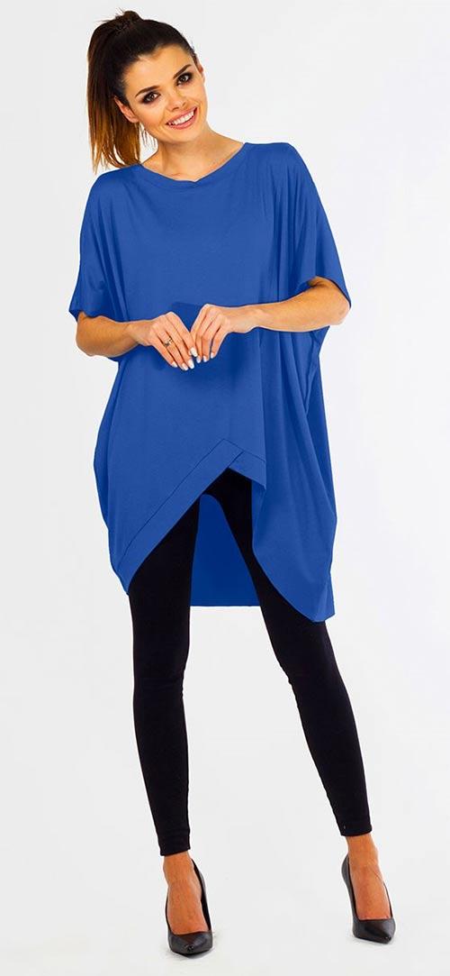 Modrá predĺžená asymetrická tunika