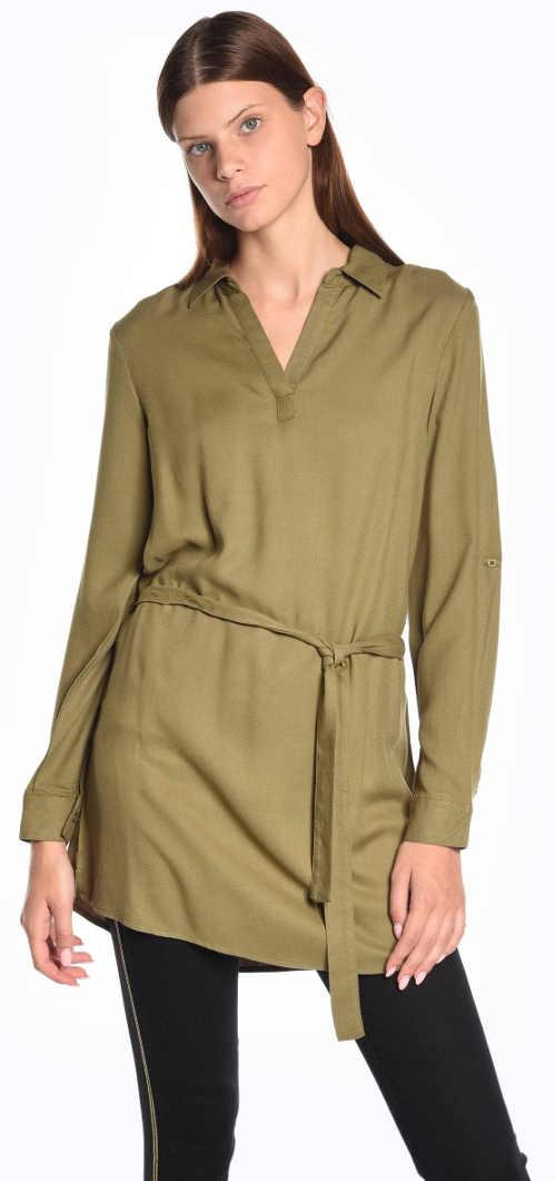 Predĺžená dámska khaki tunika s opaskom