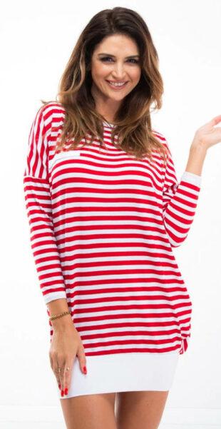 Pruhované červeno-biele tunikové šaty