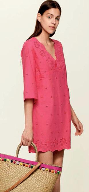 Ružové ľanové plážové šaty rovného strihu