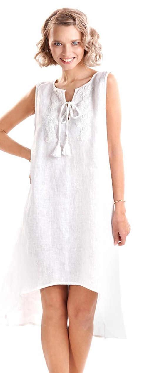 Asymetrické biele plážové šaty so šnurovacími bambuľkami