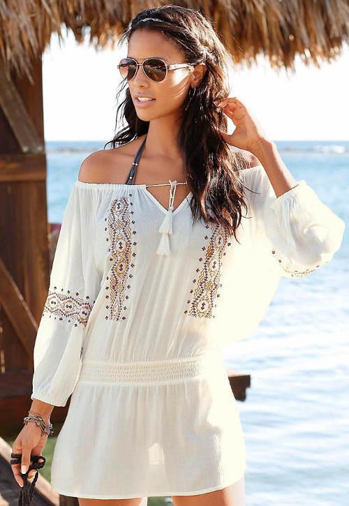 Biela plážová tunika s dlhšími rukávmi