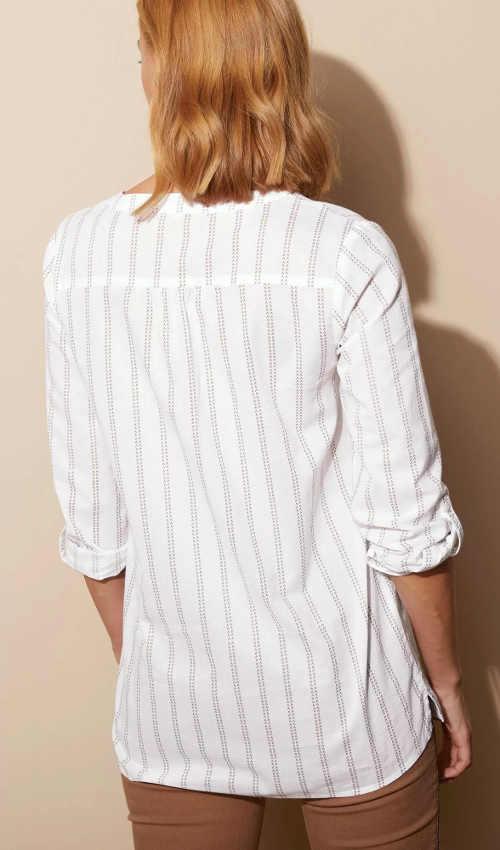 Biela pruhovaná dámska tunika s dlhými rukávmi