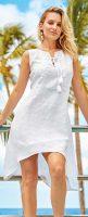 Biele plážové šaty z ľanovej tkaniny