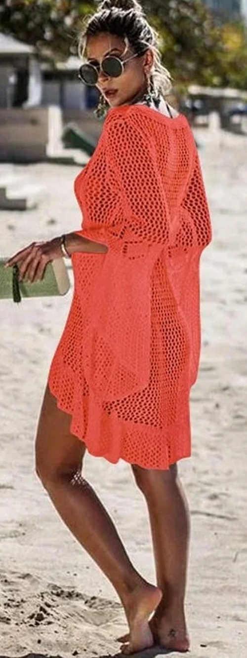 Háčkované oranžové šaty cez plavky