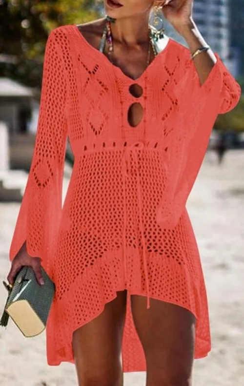 Háčkované plážové šaty s dlhými rukávmi