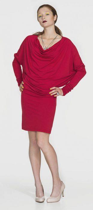 Červené tunikové šaty s nekonečnými rukávmi