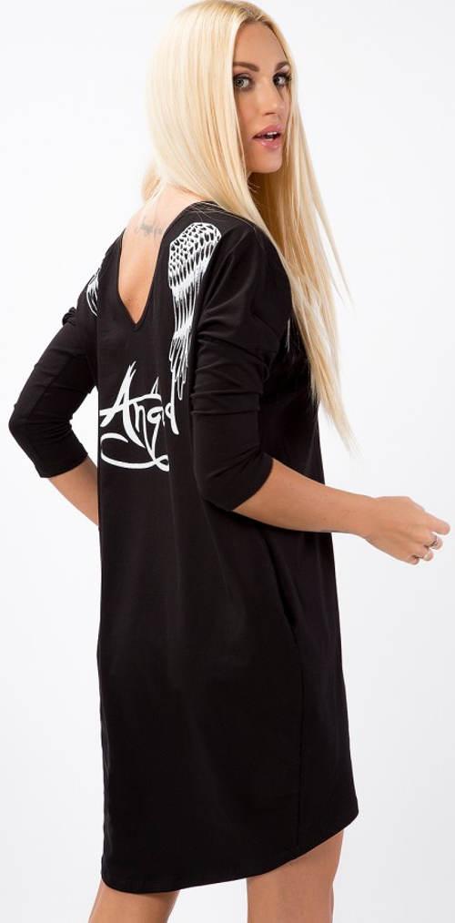 Čierna tunika s bielou potlačou