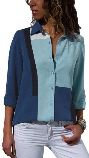 Pruhované modré dámske tričko