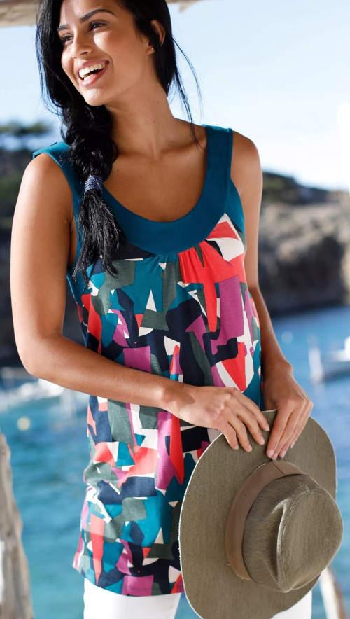 Viacfarebná dámska letná tunika