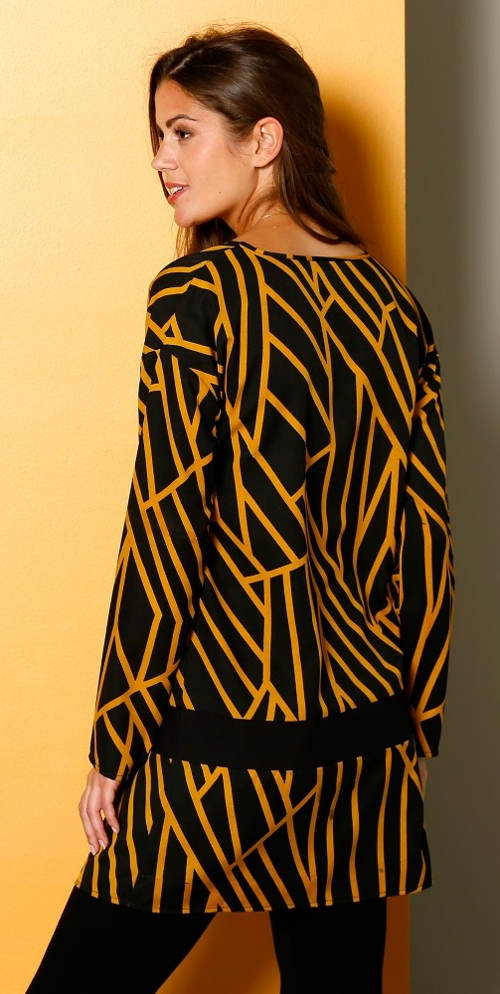 Žlto-čierna voľná tunika