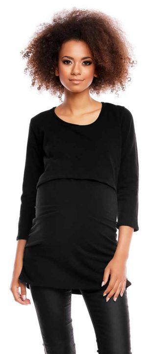 Čierne tehotenské a dojčiace tričko PeeKaBoo